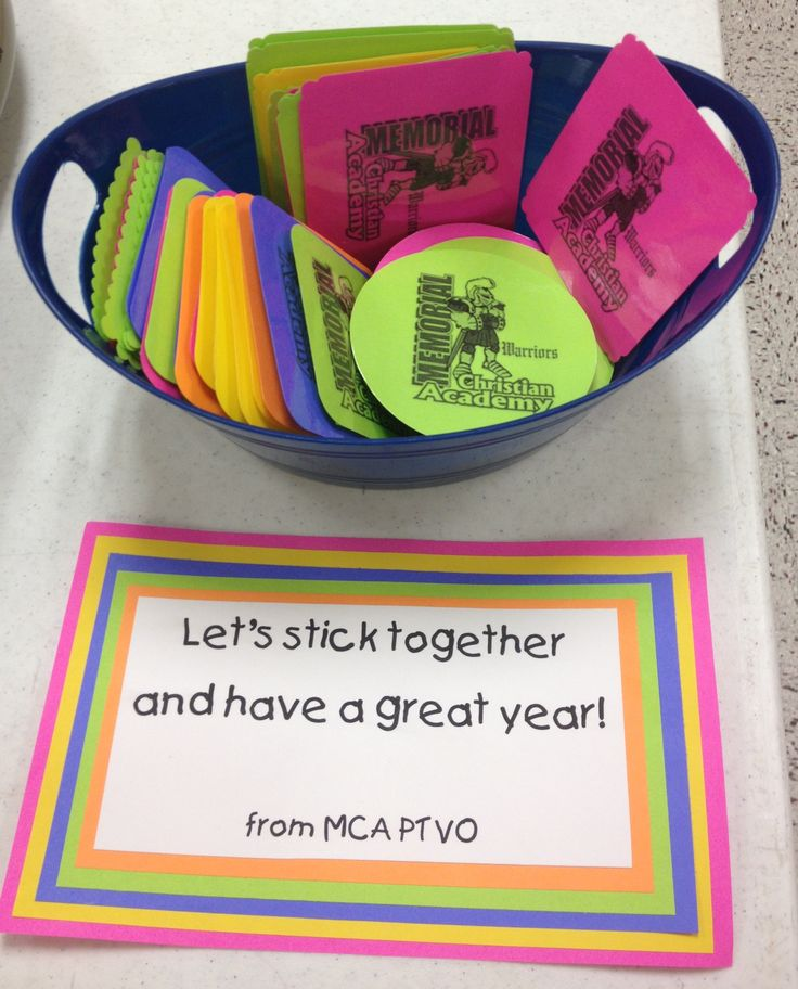 Staff / Teacher Appreciation - Welcome Back to School gifts. Bookmarks ..... Let's stick together and have a great year!
