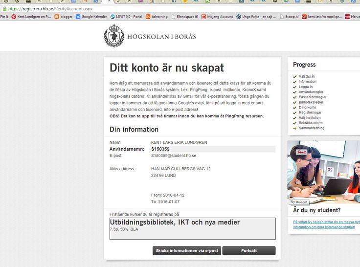 """Mitt konto är nu skapat på Borås högskola https://registrera.hb.se/VerifyAccount.aspx . Man registrerar sig via https://registrera.hb.se ....................................... Jag ska gå distanskursen: """"Utbildningsbibliotek, IKT och nya medier"""" i Borås http://www.hb.se/Vill-studera/Program-och-kurser/Kurser-VT-2015/Utbildningsbibliotek-IKT-och-nya-medier/ .   Steg för steg: http://www.hb.se/Student/Ny-student/Steg-for-steg-guide---Distansstudier/ . #Boraskurs"""