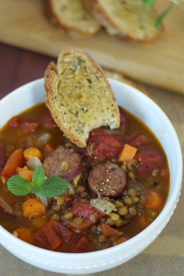 Lentil and Sausage Soup {healthy, hearty and delicious} | a cup of mascarpone