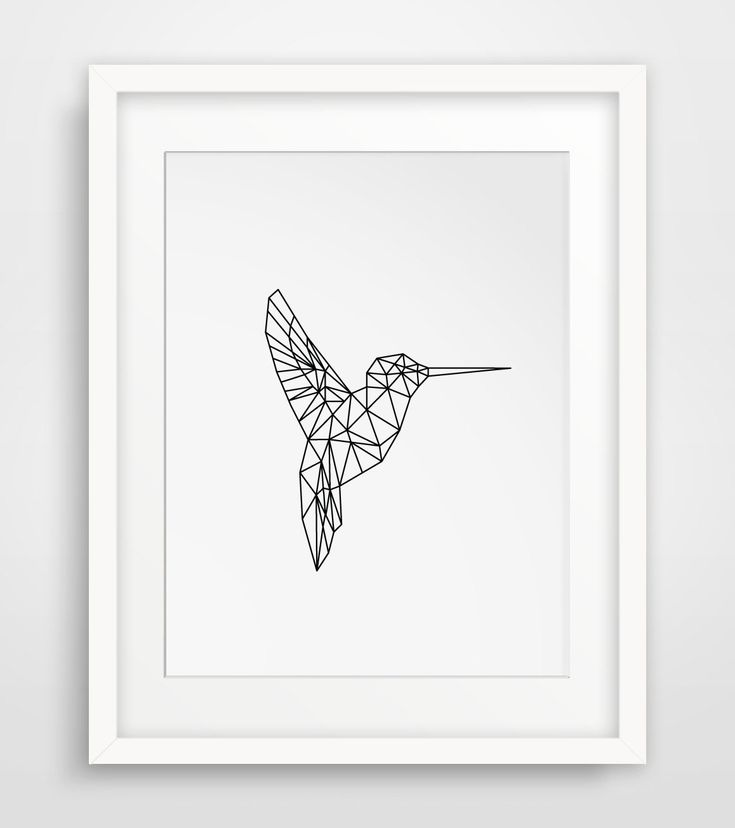Printable Art Geometric Animal Hummingbird Print Art