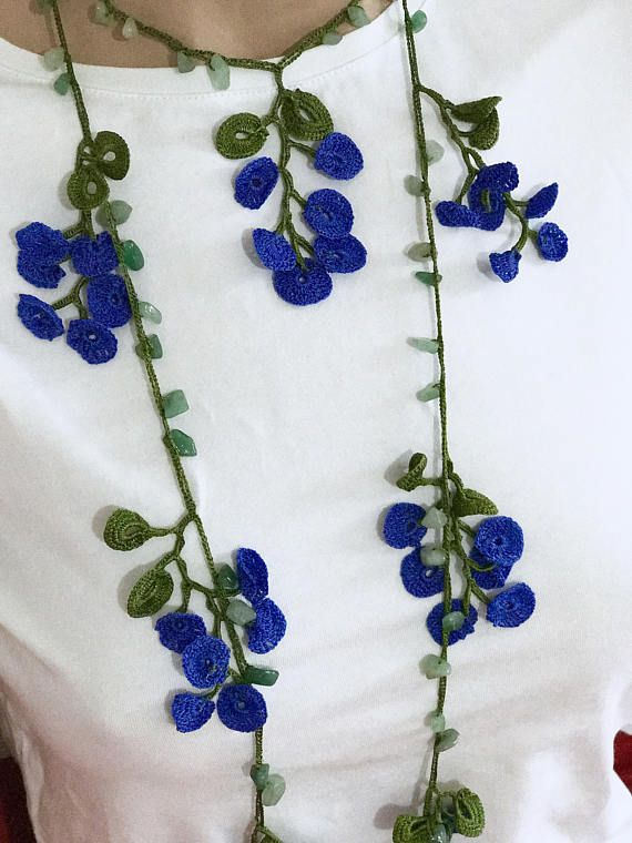 Blue flowers turkish oya crochet necklace. It is thread on the green colour. It is handmade. The length is 2 meters. (78.74inches) Product 3 and 5 working days in cargo Used as a necklace. but they have different uses. It is used as belt, decoration, hair band. It can be washed and