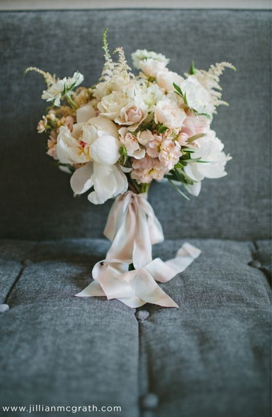 blush pink peony bouquet with silk ribbon