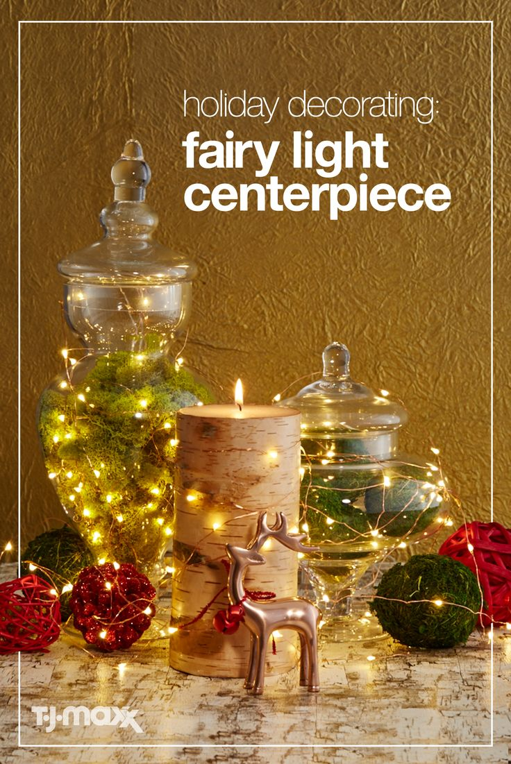 This holiday season, create a Christmas centerpiece that makes a statement using fairy lights. Simple, chic, and oh-so- versatile, these luminaries tie a look together, no matter your style. For an easy DIY idea, place a string of fairy lights in a glass bowl with bold ornaments, or weave around your existing décor for an easy, updated holiday centerpiece. Shop more holiday decorations at tjmaxx.com.