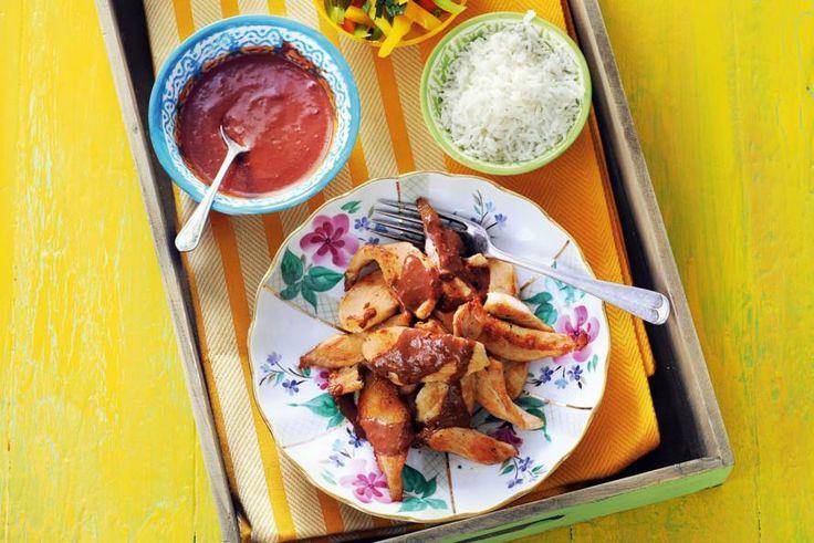 Kijk wat een lekker recept ik heb gevonden op Allerhande! Pollo con mole poblano (kip met pittige chocoladesaus)