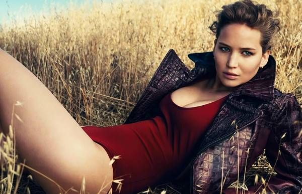 Jennifer Lawrence Red Bathing Suit