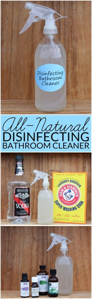 DIY cleaning products are safe, effective and frugal. Learn how to make All-Natural Bathroom Disinfectant Cleaner that gets your bathroom sparkling clean. Green clean your home.