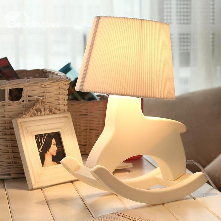 Unique Lovely Beautiful Rocking Horse Shape Beige Table Lamp #tablelamp #horseshapelight #lamp Live a better life start with @beddinginn