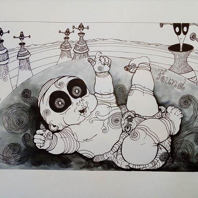 Inktober day 30 - Found - #inktober #inktober2017 #inktoberday30 #inktoberprompts #ink #penandink #brushandink #brushpen #copic  #koibrushpen #found #character #comic #southafricanartist #southafrican #southafrica #artist #artistoninstagram #art #illustration #dailysketch #drawingink  #give #share #love #cartoon #baby #alien #alienplanet