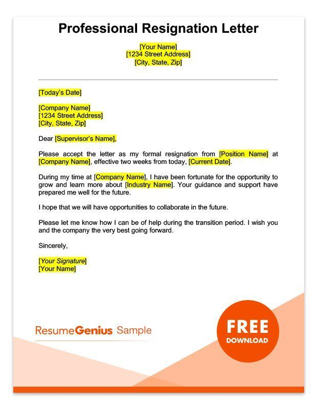 A sample professional two weeks notice resignation letter https ...