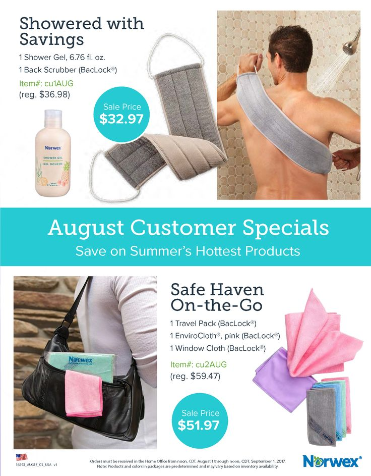 2017 August Customer Specials. www.mtdhorne.norwex.biz
