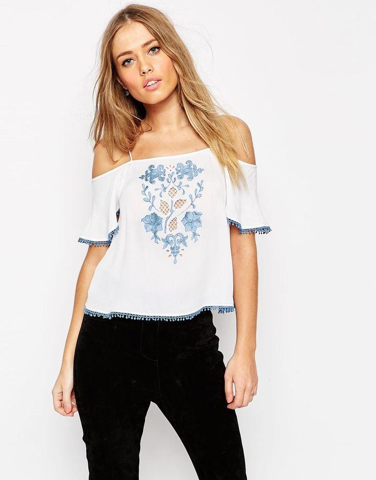 Image 1 ofASOS Cold Shoulder Cami With Vintage Contrast Embroidery