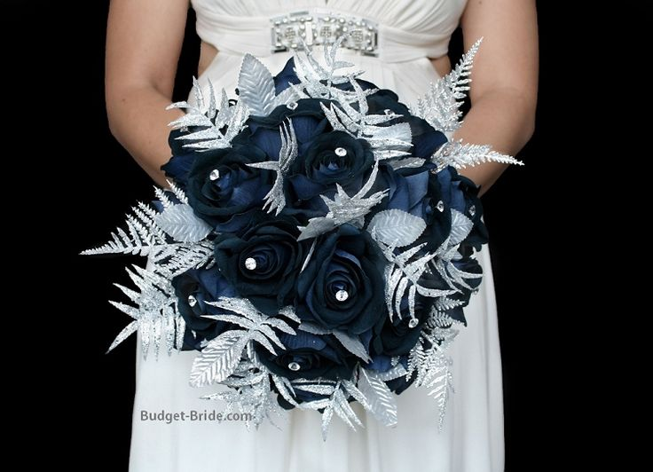 Winter Wonderland Wedding Flower Package with navy blue roses accented with silver glitter leaves