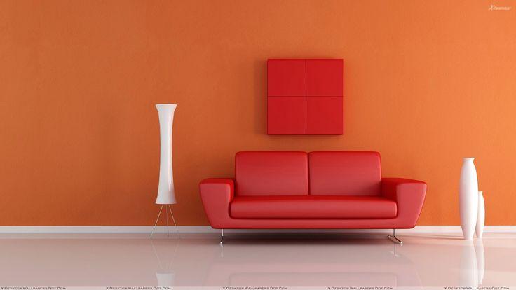 Red Sofa Near White Vase N Orange