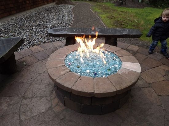 propane fire pit with glass | can build this fire pit for you or you can build it yourself. Cost ...