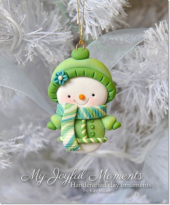 Christmas decorations from polymer clay by Kay Miller