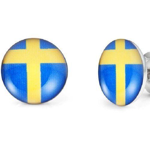 R&B Joyas - Pendientes de hombre, pendientes de botón bandera Suecia, cruz amarilla sobre fondo azul, acero inoxidable, color plateado / azul / amarillo: Amazon.es: Joyería