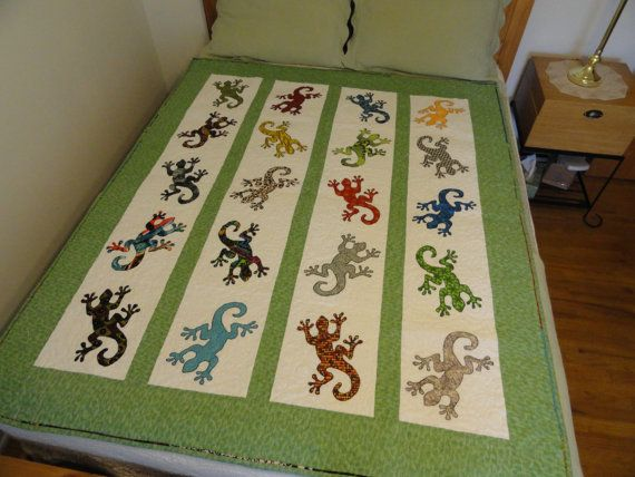 Gecko applique quilt on Etsy, $210.00