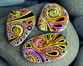 juego de imanes de corazón / pintado piedras / por LoveFromCapeCod