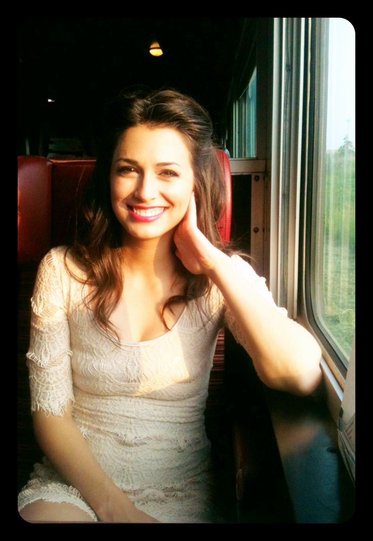 Meaghan K in white lace on the train for Steel Rails 2013.