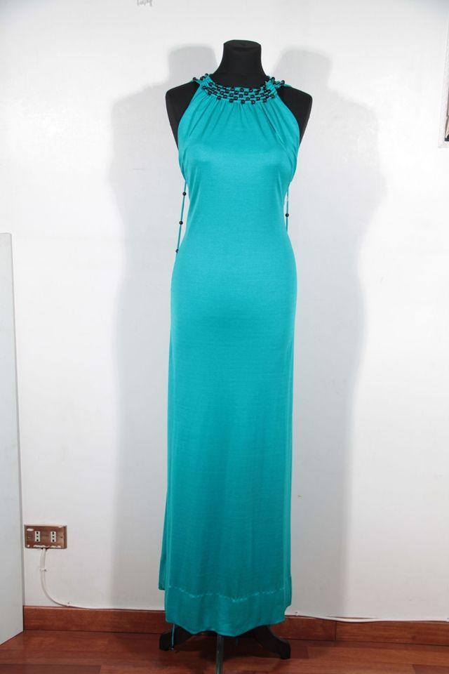 LORIS AZZARO Vintage 70s Teal Turquoise Jersey BABA Maxi DRESS Halterneck