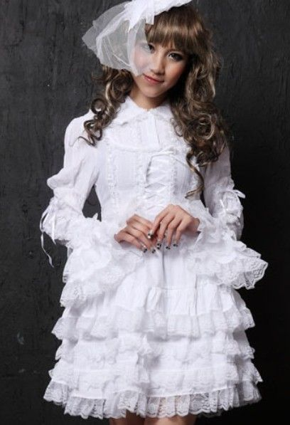 White Gothic Lolita Long Sleeve Short Prom Wedding Dress