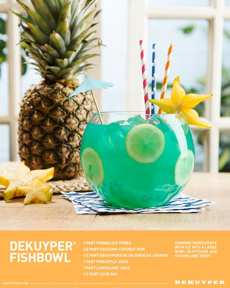 Taste tested and approved. Here's the best Fishbowl cocktail recipe you'll find all summer! Sit back and enjoy this by the pool, on the beach or in the park, and be sure to grab extra straws because your friends will want to share. Vodka, Coconut Rum, Blue Curacao and Pineapple Juice is all you'll need. #GoneFishing