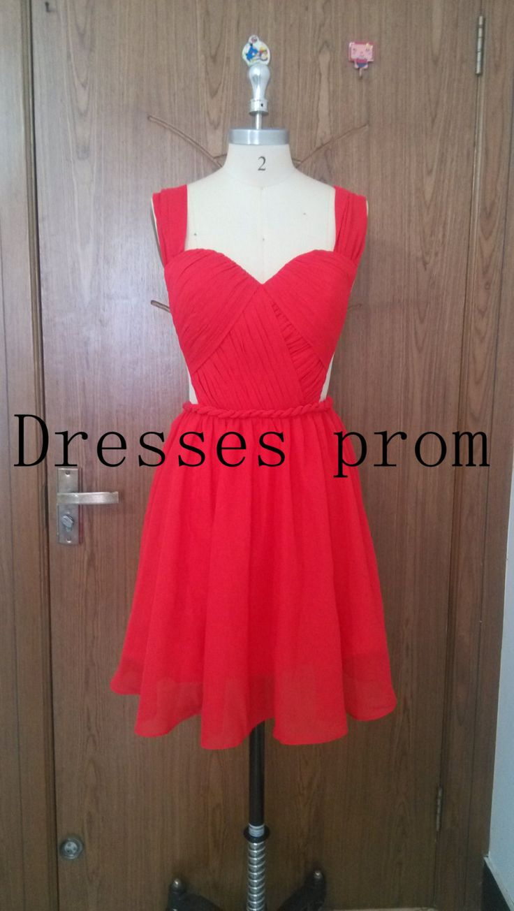 2014 red chiffon knee length bridesmaid dresses,cheap cute sweetheart bridesmaid gowns,simple elegant dress for wedding party. by Dressesprom on Etsy