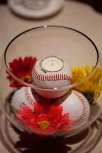 Baseball theme wedding centerpieces