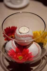 Baseball theme wedding centerpieces