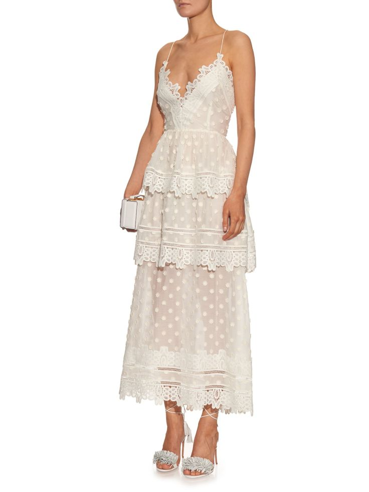 Tiered lace midi dress | Self-portrait | MATCHESFASHION.COM