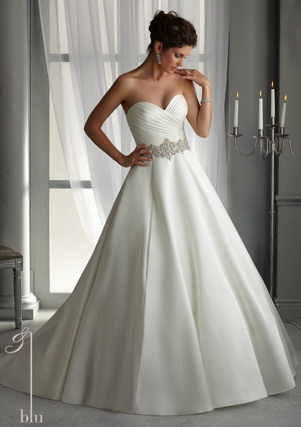 bridal dress from Blu by Mori Lee Dress Style 5266 Duchess Satin Wedding Gown with Elaborately Beaded Waistband