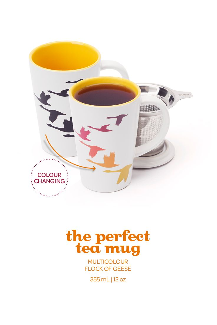 When you pour in hot water, the geese change colour! Includes infuser.