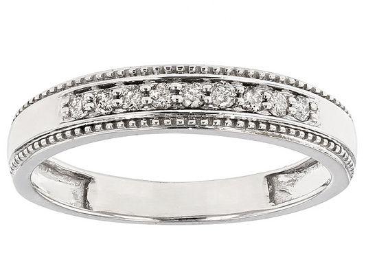 .20ctw Round White Diamond 10k White Gold Gents Ring