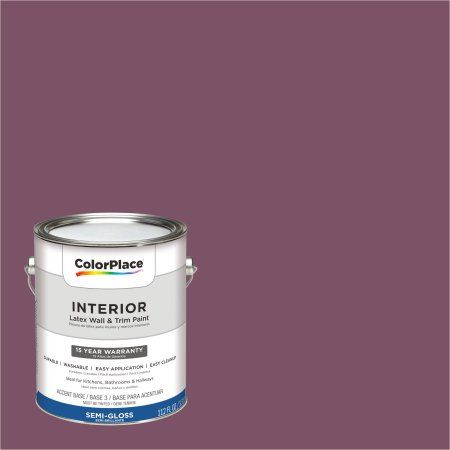ColorPlace Interior Paint, Currant Berry #30RR 11/175 Semi-Gloss 1 Gallon (Base UPC 0113118432909) Color Currant Berry