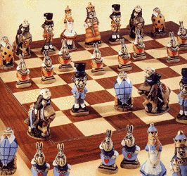 Alice In Wonderland Chess Set Hand Painted