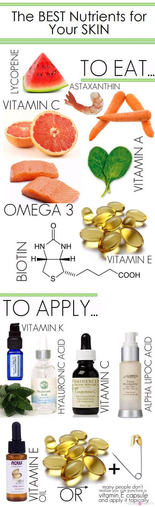 The Best Nutrients For Your Skin | These are the best things that you can eat to have healthy skin. | Skin Care Tips from youresopretty.com #SkinCareTips #youresopretty