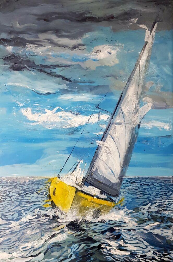 Original Art By Sean Wales Yellow Yacht At Sea Painting