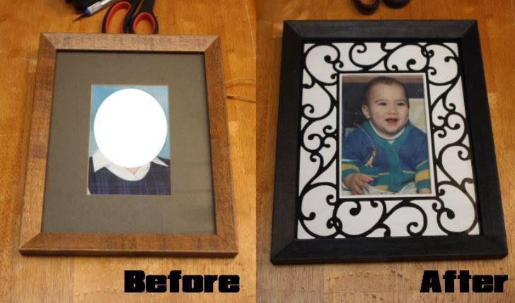 Found an old photo frame and used my Silhouette Cameo to revamp it.