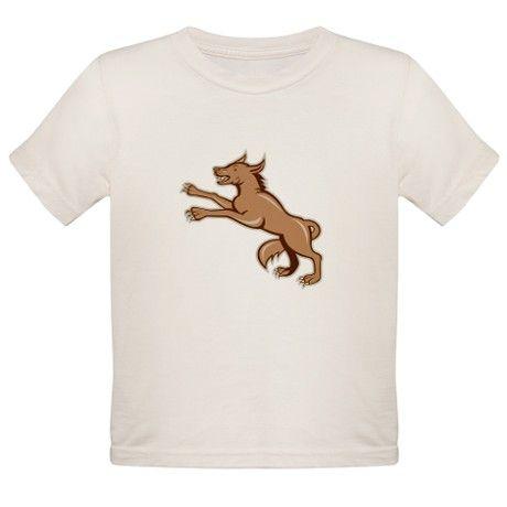 Wolf Wild Dog on Hind Legs Cartoon T-Shirt