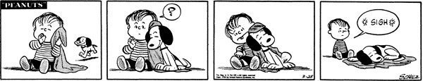 March 25, 1955 - The first time Snoopy goes after Linus's blanket.
