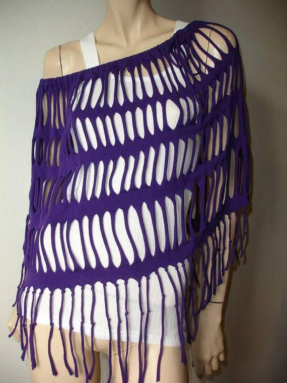 womens shredded, fringed, cotton jersey poncho shawl shrug. shredded tshirt. recycled upcycled.  purple
