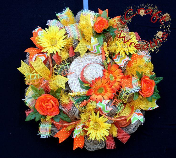 Bright Mesh Wreath, Mesh Wreath, Summer Mesh Wreath, Orange Mesh Wreath, Welcome Door Wreath, Sunshine Mesh Wreath, Flower Wreath by iCraftWreaths on Etsy