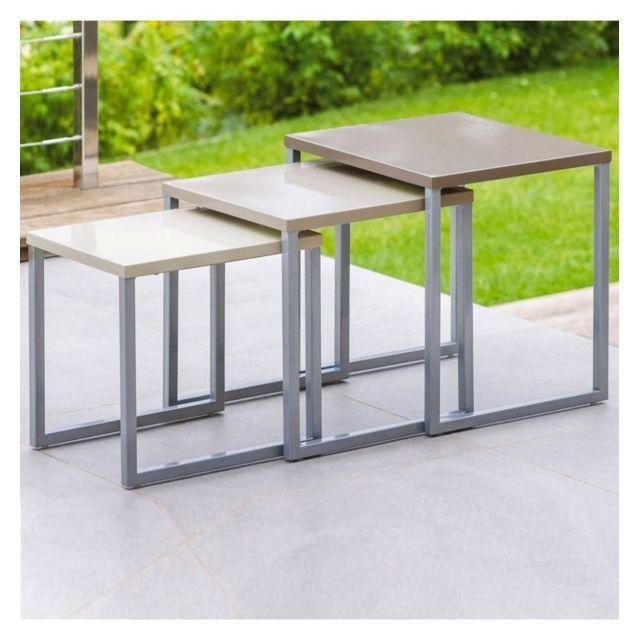 Hespéride Lot de 3 tables gigognes Manaus taupe | Mobilier de jardin ...