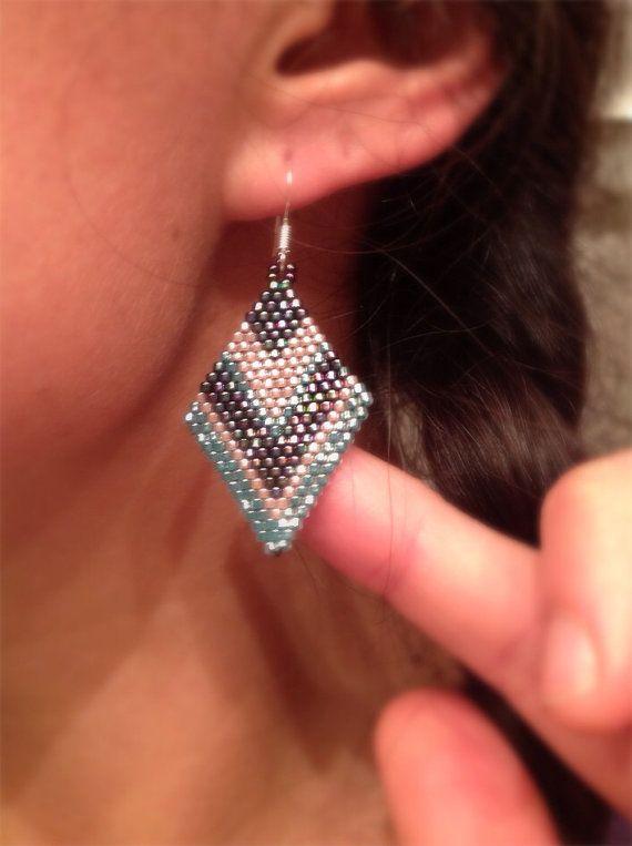 Diamond Shaped Beaded Earrings by WanderlustArtistry on Etsy