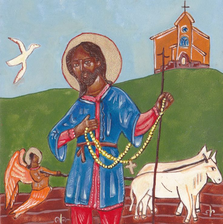 Saint Isidore the Farmer Icon Print 5 x 7 , Catholic St, Christian Art, from Original Painting , angel oxen cross and church by HollyHinkle on Etsy