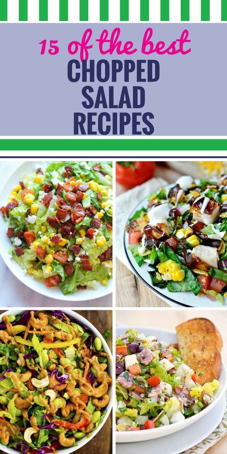 15 Chopped Salad Recipes. Looking for a healthy dinner or lunch option? Chopped salad is your answer. Don't miss the barbecue chicken version - or my favorite - Mediterranean chicken with pepper and feta dill dressing. Yum.