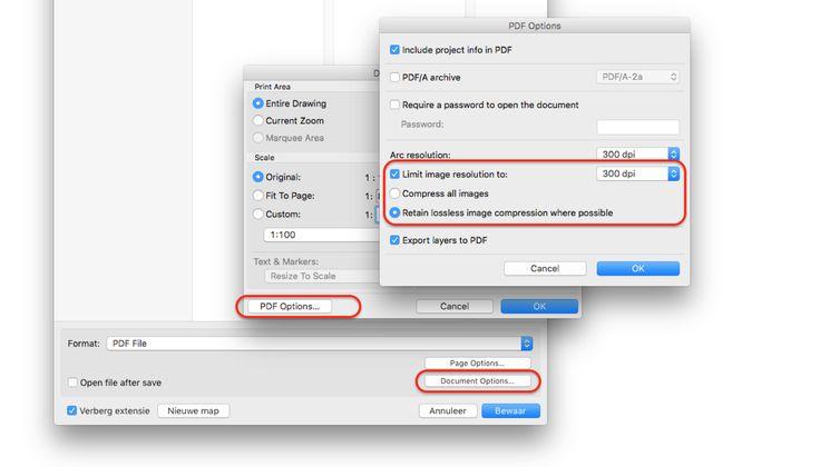 PDF bestanden kunnen soms groot worden door het gebruik van foto's of afbeeldingen. Via Document Options > PDF Options kun je resolutie van de afbeeldingen beïnvloeden. Je kunt kiezen voor een resolutie-grens, bijvoorbeeld 150 of 300dpi.   Als de optie 'Retain lossless images' aanstaat, worden afbeeldingen (indien mogelijk) als PNG-formaat in de PDF opgeslagen. PNG-afbeeldingen zijn veel kleiner, zonder dat kwaliteit zichtbaar minder is. JPG-afbeeldingen worden altijd als JPG opgeslagen.