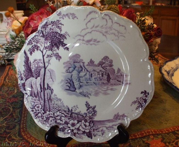 lavender purple toile transferware - photo #32
