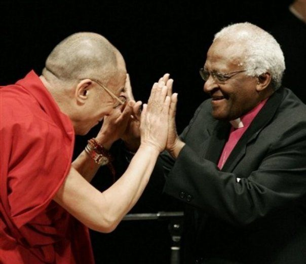 """Dalai Lama XIV: """"When we meet real tragedy, we can lose hope & fall in2 self-destructive habits OR use th challenge 2 find our inner strength"""" Desmond Tutu: """"Dont raise yr voice, improve yr argument"""""""