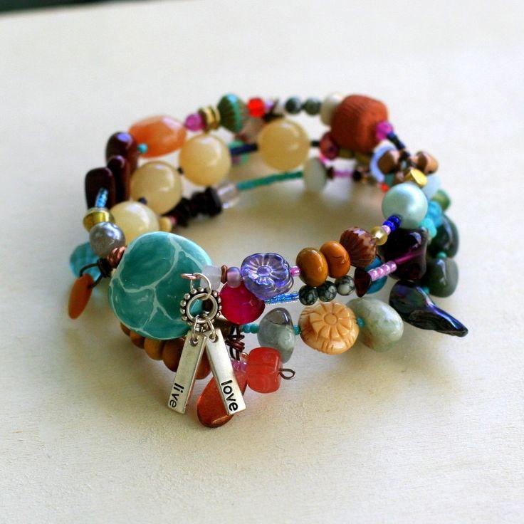 colorful chunky beaded bracelet memory wire bracelet